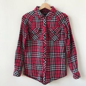 Rails red, black, and white button down